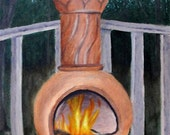Chiminea - Original Oil Painting on 9x12 Canvas Board