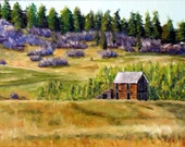 Landscape, Cabin Painting, Lupine Painting, Country House, Bluebonnet Painting,Purple Fields, Autumn Painting,  Helen Eaton
