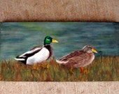 RESERVED FOR s0136035 Mallards - Original Oil Painting on 6x12 Wrapped Canvas