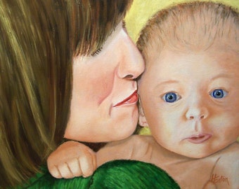 Baby, Kiss, Mother and Child, Mothen and Baby Art, Giclee of Original Oil Painting, 8x10 Stretched Canvas, Helen Eaton