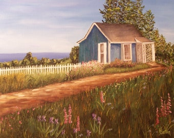 Cottage by the Sea- Giclee of Original Oil Painting on 8x10 Stretched Canvas