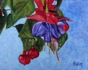 Flower Painting, Purple and Pink Flower, Fuschia, Small Canvas, Floral Painting, Original Oil Painting, Tropical Flower, Helen Eaton