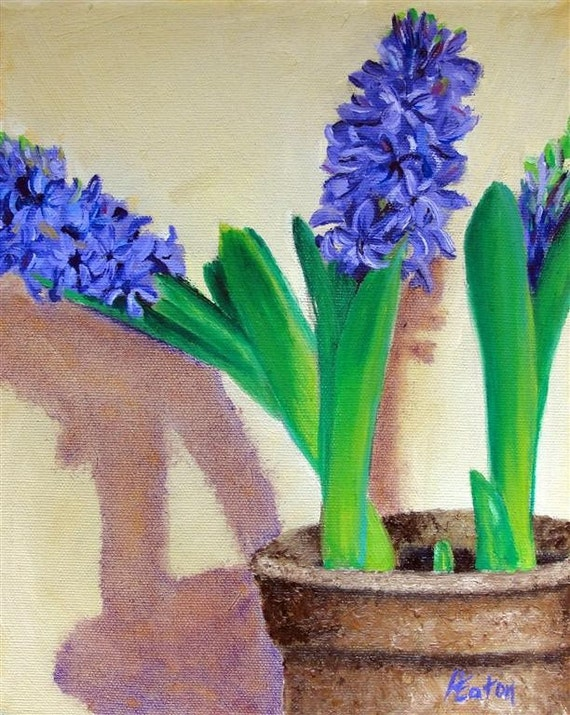 Purple Hyacinth - Original Oil Painting on 8x10 Wrapped Canvas