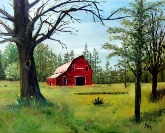 Red Barn in Springtime - Original Oil Painting on 16x20 Wrapped Canvas