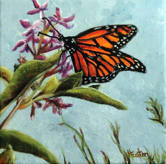 Spring Monarch - Original Oil Painting on 6x6x2 Deep Edge Wrapped Canvas