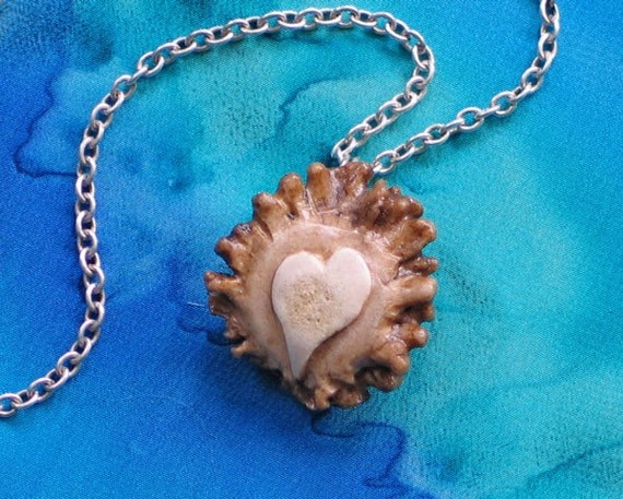 RESERVED FOR JUDI  Heart Antler Pendant