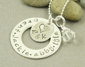 Custom Family Necklace Hand Stamped Sterling Silver Jewelry