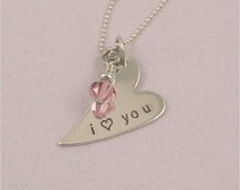 I Love You Hand Stamped Sterling Silver Heart Necklace