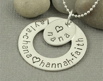 Personalized Hand Stamped Nana Necklace in Sterling Silver, Personalized Jewelry