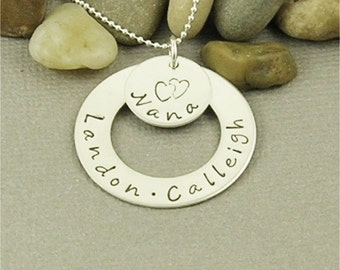 Personalized Nana Necklace Hand Stamped Sterling Silver, Mom Necklace