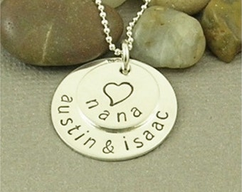 Personalized Nana Necklace Hand Stamped Sterling Silver