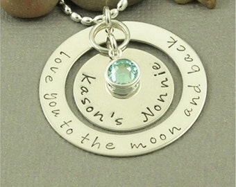 Nana Mom Grandma Family Necklace Hand Stamped Sterling Silver Personalized
