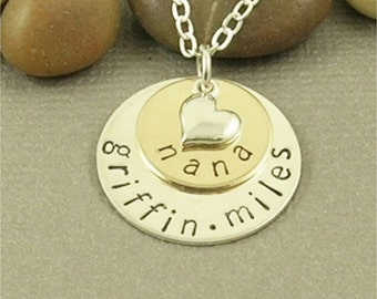 Personalized Nana Necklace - Hand Stamped Jewelry - 14kt Gold Filled & Sterling Silver - 2 Stack Name Necklace