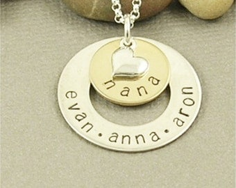 Nana Necklace, Personalized, Hand Stamped Sterling Silver