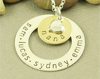 Nana Necklace, Personalized, Hand Stamped, Sterling Silver Mom Necklace