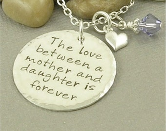 Mother and Daughter Necklace, Hand Stamped Jewelry, Mother Jewelry, Son, Personalized Jewelry Sterling Silver Pendant