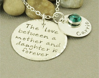 Mother Daughter Necklace, Son Necklace, Personalized Jewelry, Hand Stamped Jewelry, The love between a mother and daughter is forever