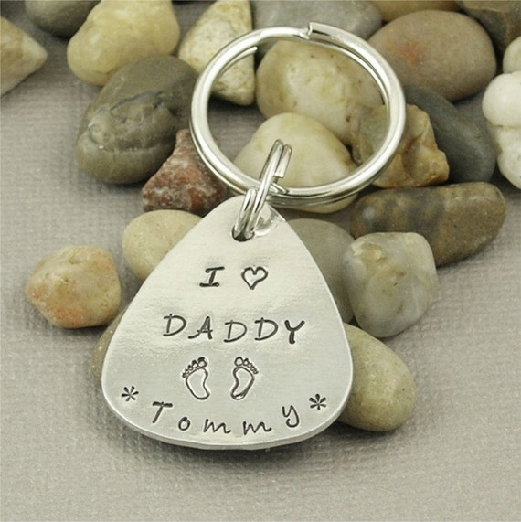 DAD Personalized Hand Stamped Pure Aluminum Key Chain A Great Gift for DAD