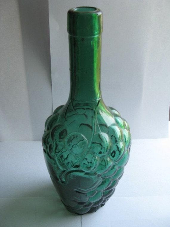 Vintage grape shaped green glass wine bottle for Green glass wine bottles