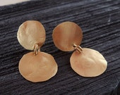 14k Gold Earrings 2 Gold Round Discs