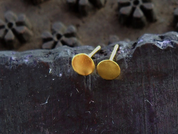 Stud Earrings - Sterling Silver Coated With 24K Gold