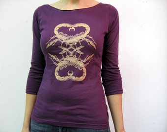 Scorpion Heart / Women's Boatneck 3/4 sleeve / Eggplant / Small