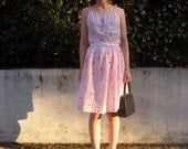 1940s Handmade Pink n' Flowers Gingham Dress XS/S
