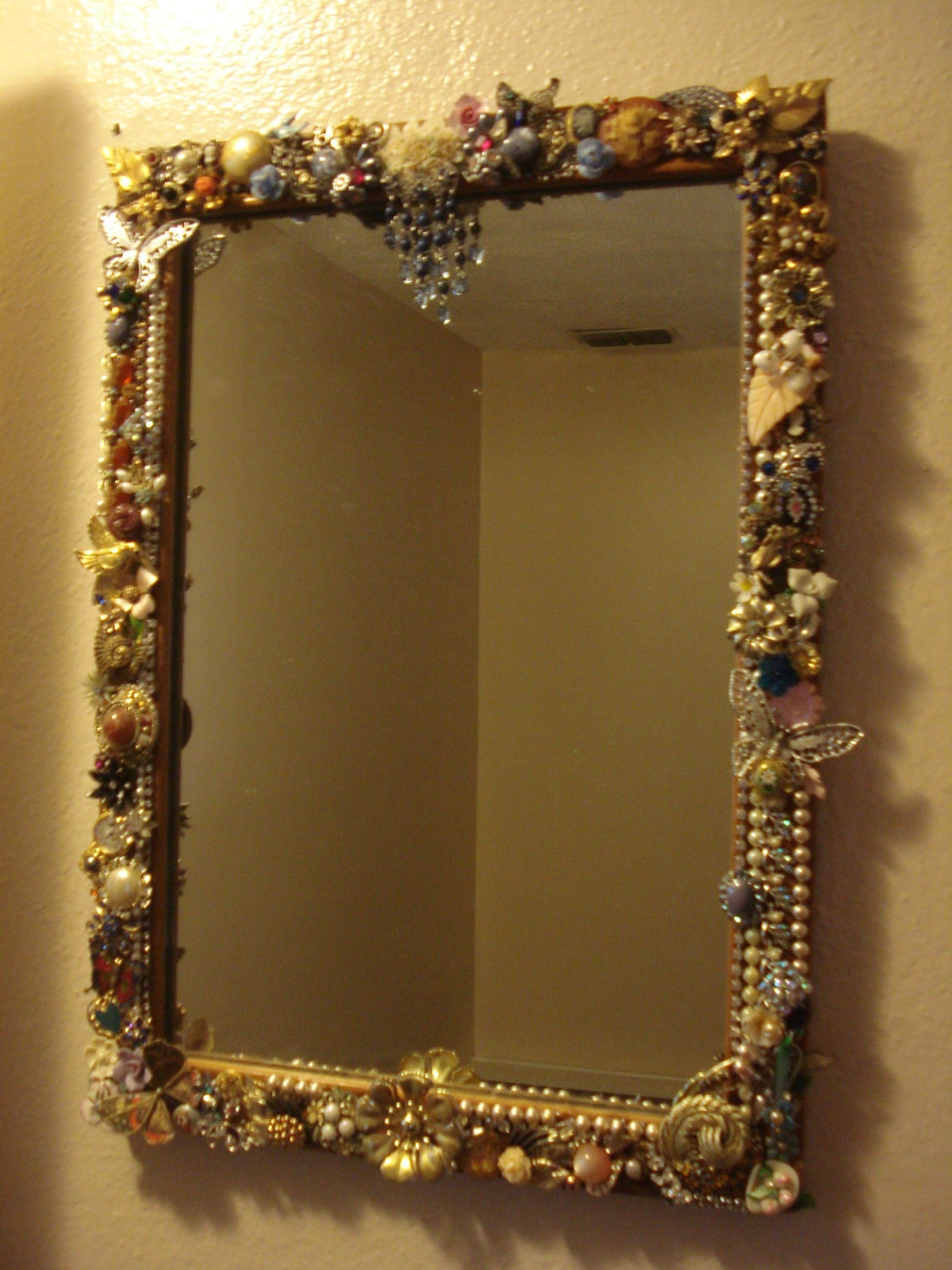 Repurposed Vintage Jewelry Framed Mirror On Sale Now With