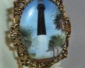 Beautiful Tybee Island,GA  Lighthouse Cameo Brooch/Pendant/Necklace Combination