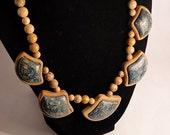 Beautiful Lapis Chrysocolla Intarsia (framed) Gemstone Bead Necklace