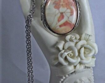 Alphonse Mucha Maiden Silver Locket Necklace