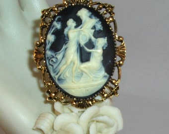 Beautiful Black and Ivory Cameo of Grecian Ladies and Bust of Zeus Brooch/ Necklace