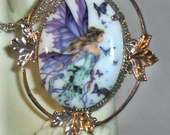 Beautiful Butterfly Fairy Princess Cameo Necklace