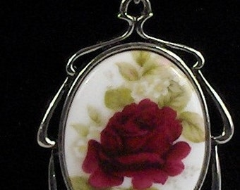 Stunning Beautiful Red Rose Cameo Silver Necklace