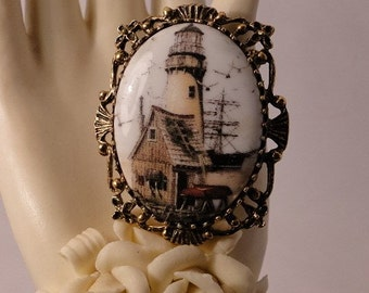 Charming New England Lighthouse Cameo Brooch and Necklace