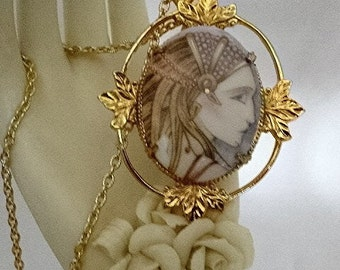 Exotic Egyptian Princess  Cameo Necklace