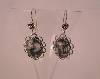 Beautiful Chinese Writing Gemstone Silver Earrings