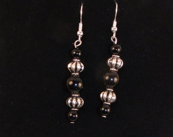 Beautiful Antique Silver and Black Onyx Earrings