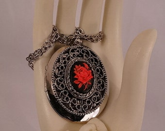 Stunning Black and Red Rose Silver Filigree Locket Necklace