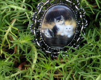 Cuddley Kittens in a Basket Pendant\/Brooch/Necklace Combination