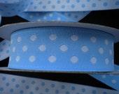 Baby Blue and white Polka dot Jacquard Ribbon 1meter ,1.09 yard