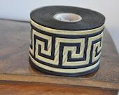 Navy blue and Gold Satin Greek Key Jacquard Ribbon Trim  50mm ,Ribbon, Greek Key Ribbon, Commercial, Embroidered border, Sewing trim,