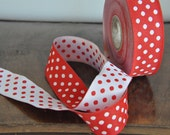 Reversible Red and white Polka dot Jacquard Ribbon 1 inch     25mm