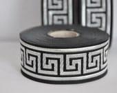Black and silver   Greek Key Jacquard  Ribbon  Trim 35mm