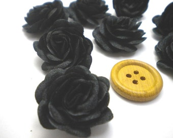 6 pc Satin Black Roses Pin Brooch Hat Hair Accessory Baby Girls Bow Headband Quilting