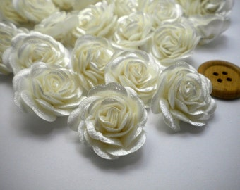 6 pc Satin Ivory Roses Pin Brooch Hat Hair Accessory Baby Girls Bow Headband Quilting