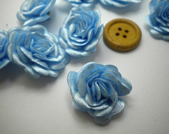 6 pc Satin POWDER BLUE  Roses Pin Brooch Hat Hair Accessory Baby Girls Bow Headband Quilting