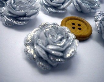 6 pc Satin SILVER  Roses Pin Brooch Hat Hair Accessory Baby Girls Bow Headband Quilting