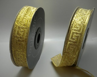 Gold Greek Key JACQUARD RIBBON TRIM 15MM 1 roll 10 meters