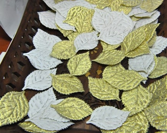 18 Metallic GOLD  Satin Leaves Embellishement